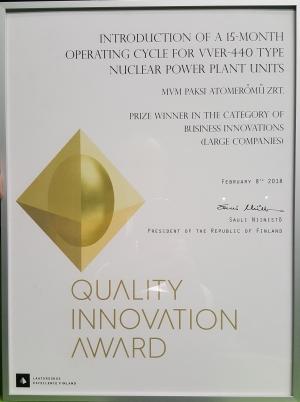 Nemzetközi szinten is díjazták a paksi C15 bevezetését